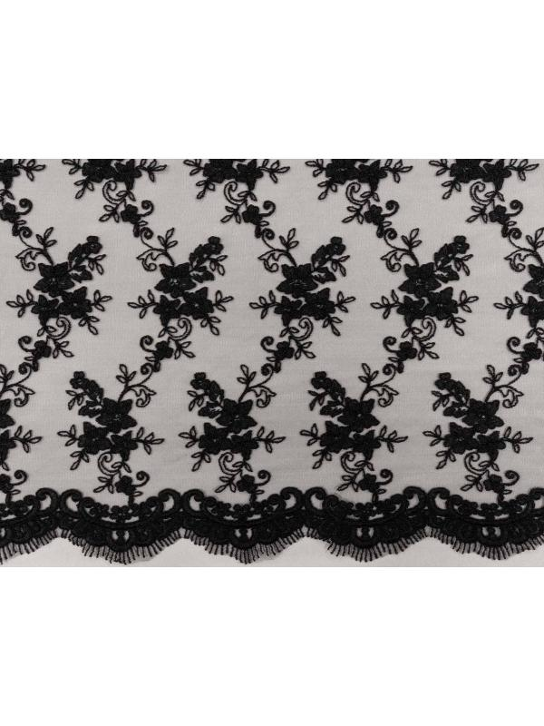 Embroidered Lace Fabric Black