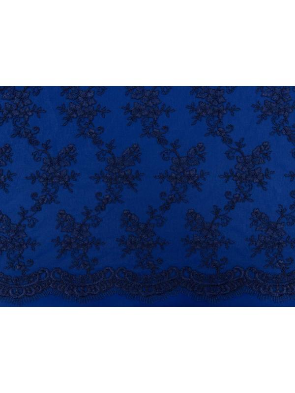 Embroidered Lace Fabric Blue