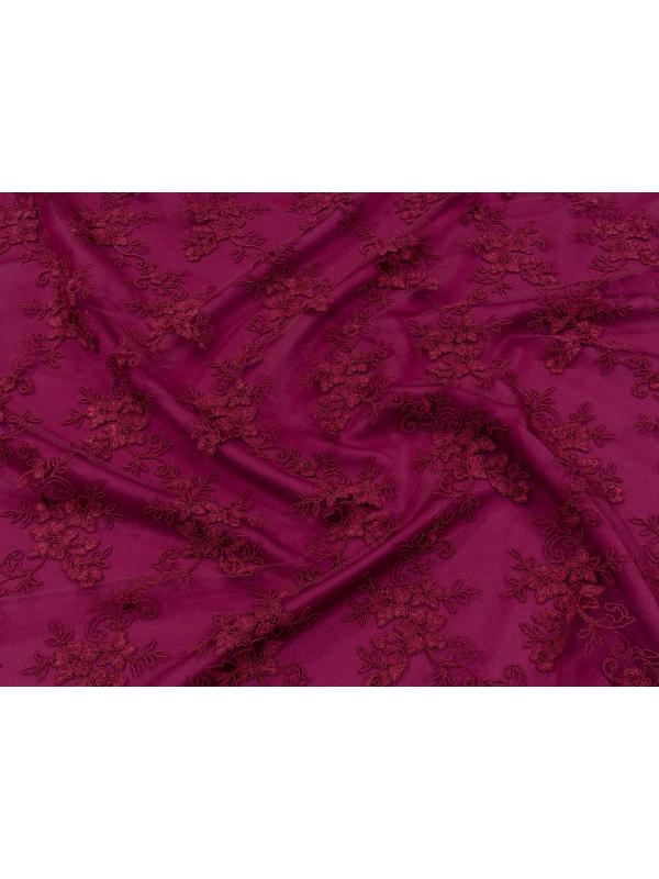 Embroidered Lace Fabric Burgundy