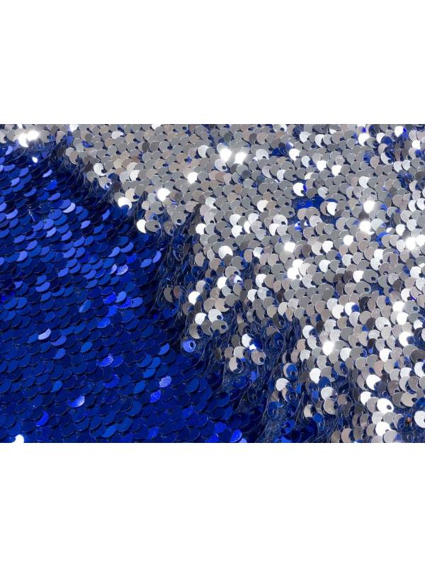 Stretch Reversible Sequins Fabric Electric Blue-Silver