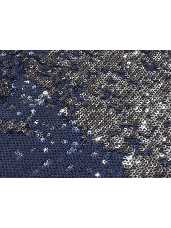 Stretch Reversible Micro Sequins Fabric Navy Blue Silver