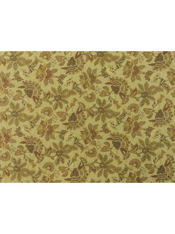 Mtr. 1.50 Chenille Fabric Floral Gold Terracotta