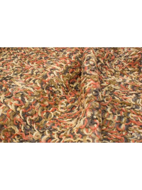 Mtr. 2.20 Embroidered Wool Coat Fabric Dove Grey Orange
