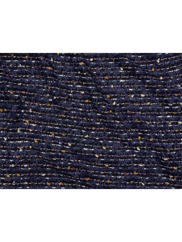 Cotton Wool Chanel Fabric Blue Black - Carnet Couture