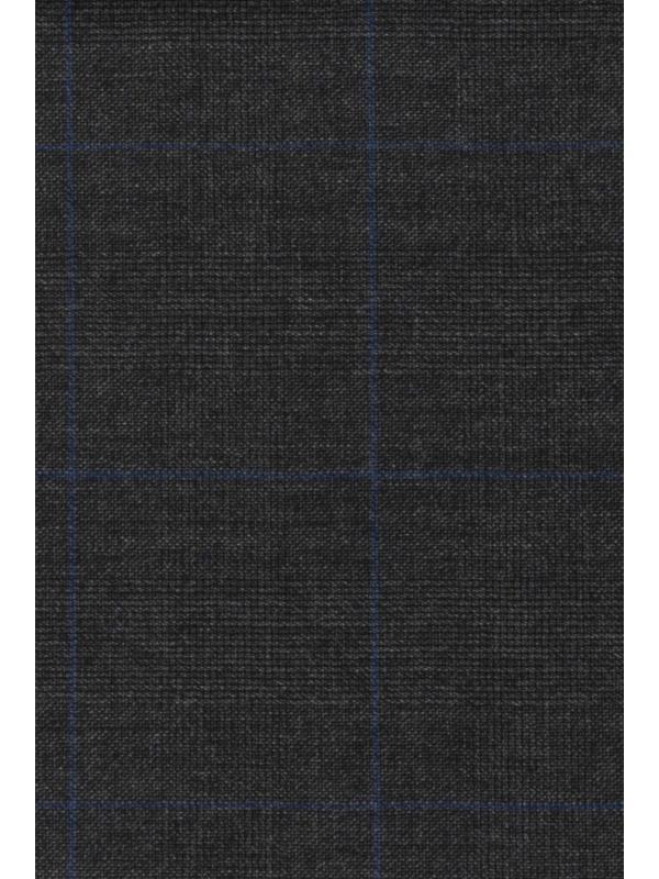 Superfine 150's Wool Fabric Prince of Wales Anthracite Grey Black - Carlo Barbera