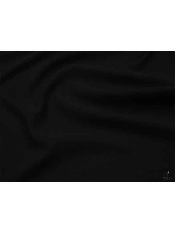 Double Crépe Pure Wool Fabric Black