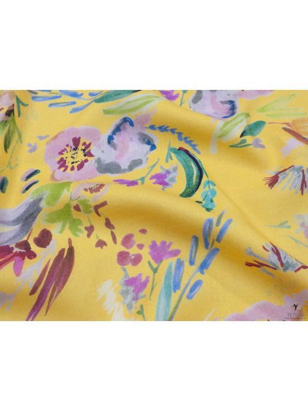 Lyocell Plain Weave Fabric Floral Yellow