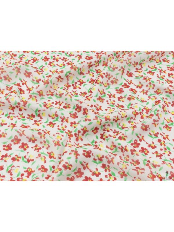 Silk Georgette Fabric Floral White Red Green