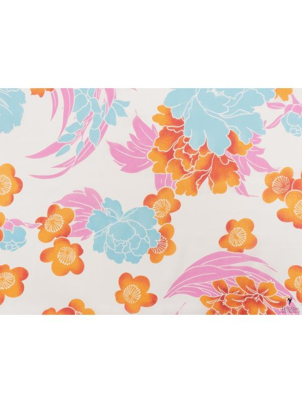 Mtr. 1.50 Silk Georgette Fabric Floral White Red Turquoise Peony Pink