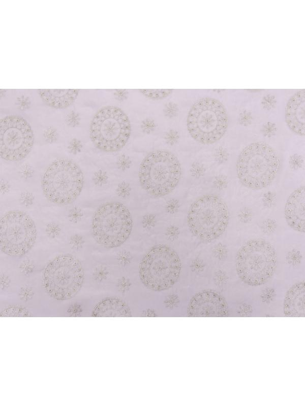Embroidered Silk Georgette Fabric Lilac Pewter