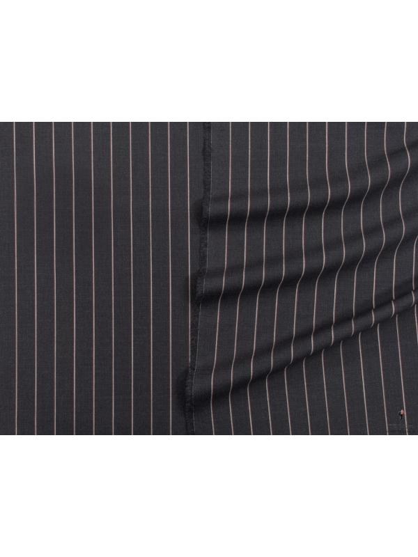 Pin Stripe Cool Wool Fabric Anthracite Grey Made in Italy