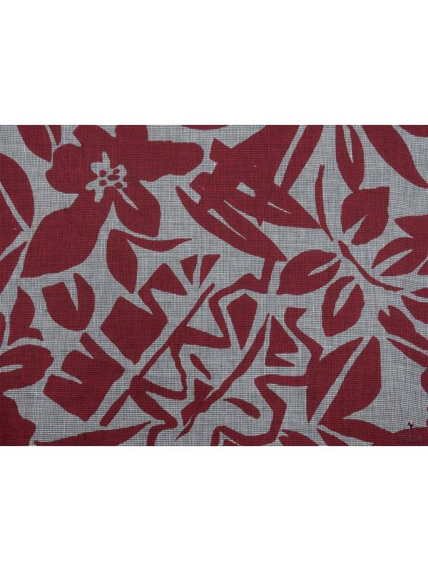 Linen Fabric Pied de Poule Floral Dark Red Made in Italy