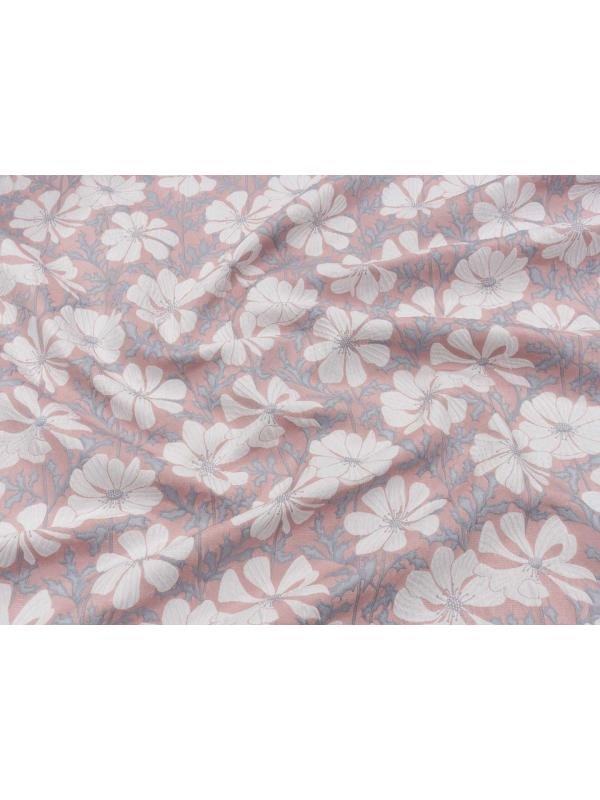 Embossed Fabric Floral Pink Grey