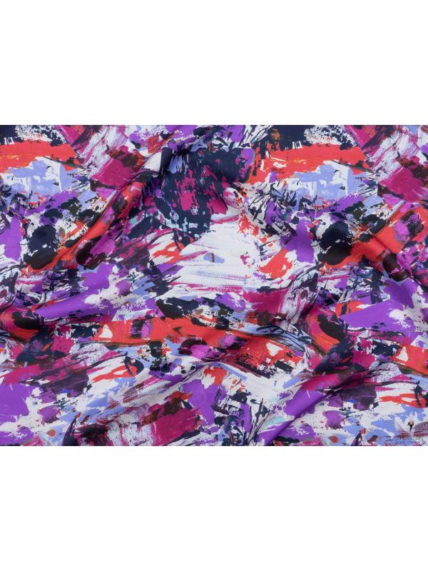 Twill Pure Silk Fabric Abstract Purple Red Coral - Emanuel Ungaro