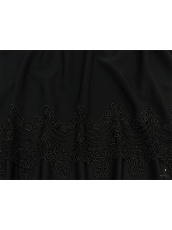 Mtr. 1.40 Embroidered Silk Cady Fabric 8 Ply Black Made in Como