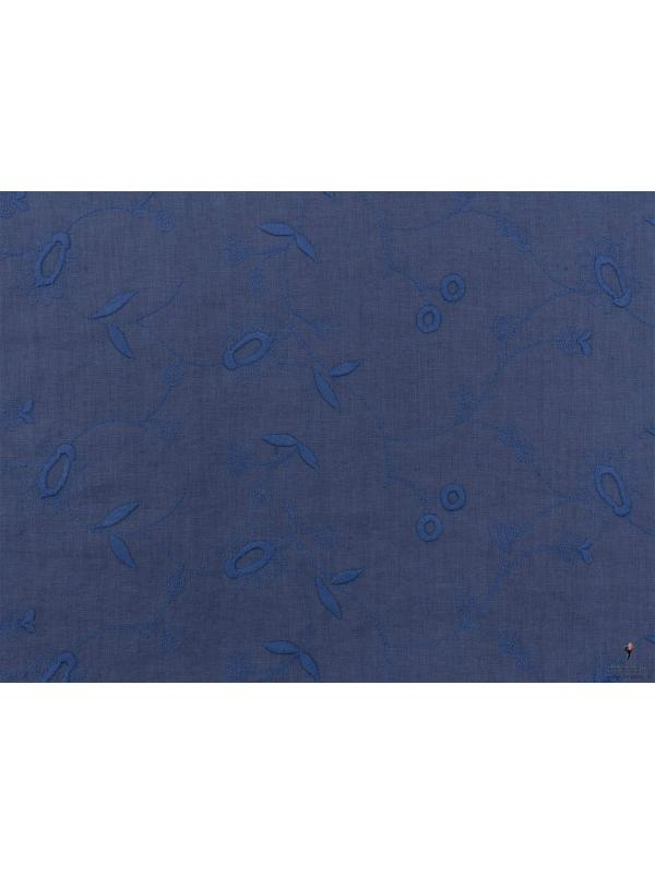 Embroidered Linen Fabric Denim Blue Made in Italy