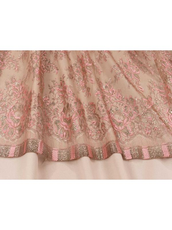 Chantilly Lace Fabric Pink Gold Lurex Made in Italy