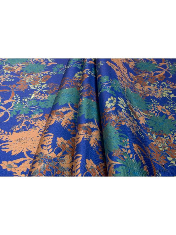 Mtr. 1.75 Panel Mikado Fabric Floral Electric Blue