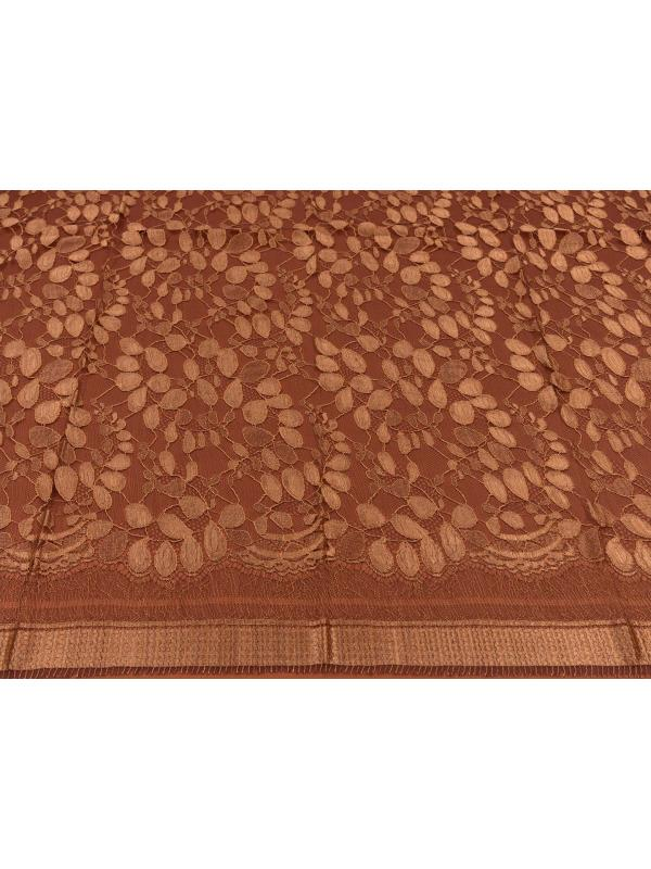 Chantilly Lace Fabric Copper Prune Made in Italy