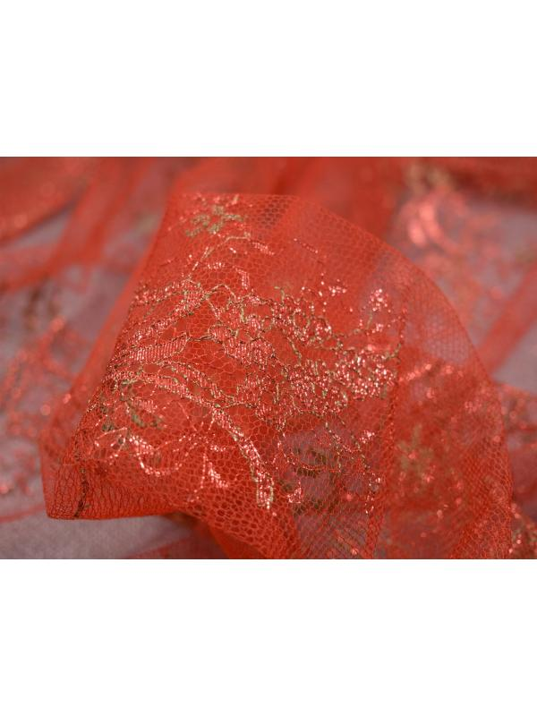 Chantilly Lace Fabric Red Military Green Lurex Made in Italy