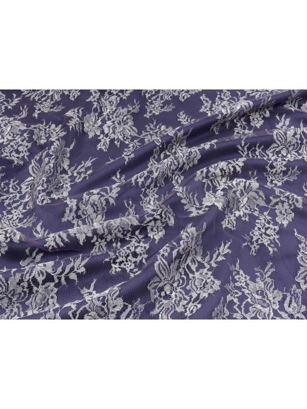 Chantilly Lace Fabric Purple Silver Lurex Made in Italy