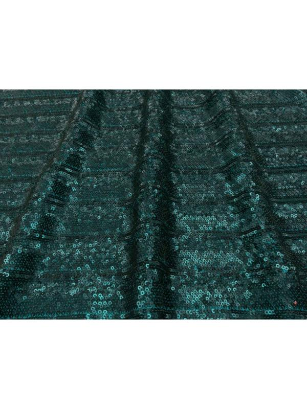 Mtr. 0.50 Stretch Tulle Sequins Fabric Petroleum Green
