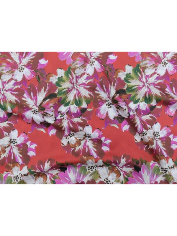 Cotton Sateen Fabric Floral Red Pierre Cardin