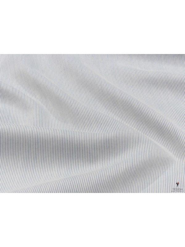 Cotton Piqué Yarn Dyed Fabric Ice Azure Blue Made in Italy