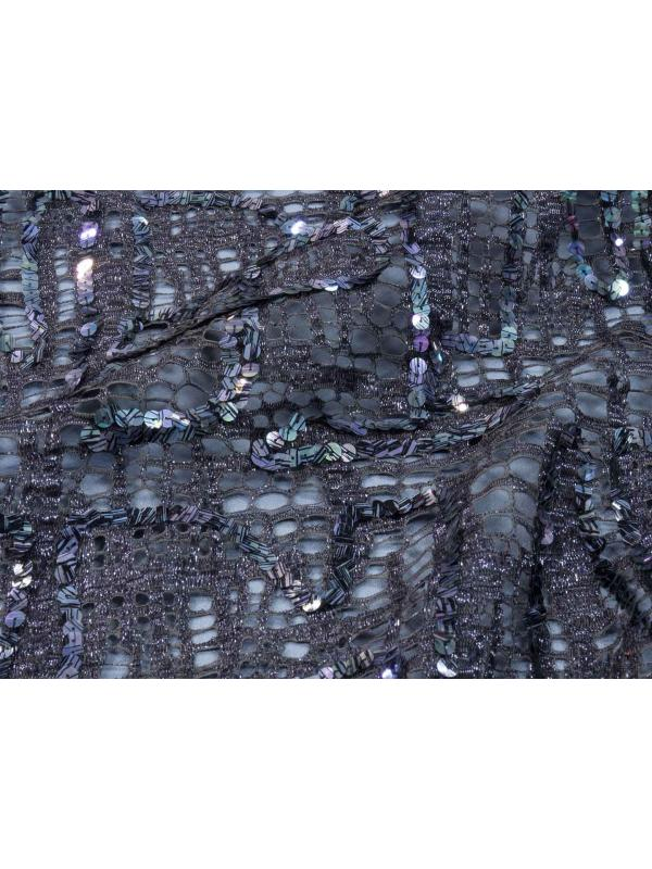 Mtr. 1.50 Sequinned Lace Fabric Grey Riechers Marescot