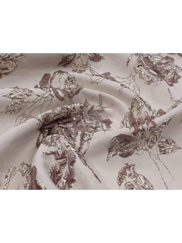 Mtr. 1.50 Embossed Fabric Floral Nut Brown