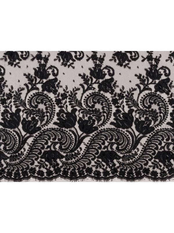 Embroidered Lace Fabric Dentelle Leavers Black Solstiss