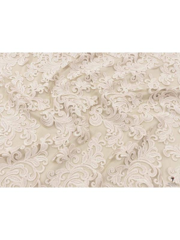 Embroidered Lace Fabric Foliage Beige
